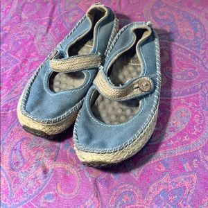 Simple Green Toe Mary Jane Shoes Blue Size 8